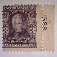 TRAVELSTAMPS: 1902-03 US STAMPS SCOTT# 302, JACKSON, 3 cents, mint, og, hinged.