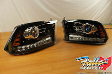 2013-2015 Pair Of Dodge Ram 1500 2500 3500 Black Projector Headlights Mopar OEM