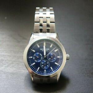 Sekonda Chronograph Blue Face Bracelet Watch In Silver Men's