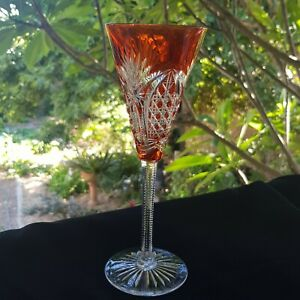 Bohemian Ruby Cut to Clear Crystal Wine Glass / Goblet.