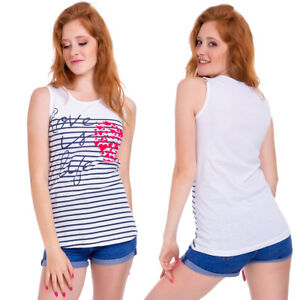UK Ladies Sleeveless Vest Top Womens Stripes Loose Fit Love Is Life Blouse FB310