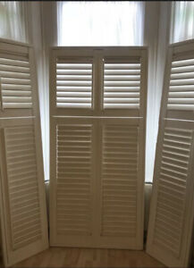 Wooden plantation shutters, used, white, good condition, bay window
