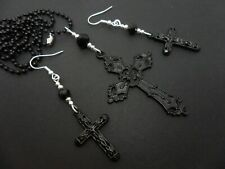 "A LARGE MADONNA STYLE BLACK CROSS NECKLACE & EARRING SET. . 27"" LONG. NEW."