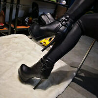 Boots Sexy Cuir Mat Haut Talons Carré 15 Cm ! P35 - 47 NEUVES