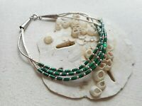 Sterling Silver Liquid Silver Green Beaded Bracelet  3 Strands  RE3116