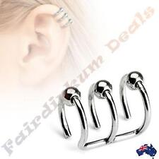 316L Surgical Steel Silver Ion Plated Triple Closure Cartilage Ring with Beads