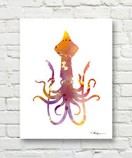 SQUID Contemporary Watercolor ART Print by Artist DJR