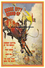 Dodge City Round Up  Cowboy Cowgirl Vintage Rodeo Poster 18X24