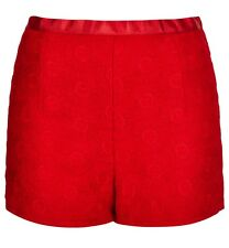 TOPSHOP RED FLORAL DAISY LACE GUIPURE CROCHET HIGH WAISTED SHORTS 10 38 6!