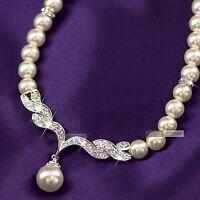 18k white gold GF made with swarovski crystal women wedding pearl necklace
