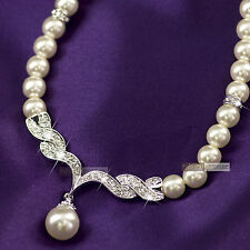 18k white gold GF made with swarovski crystal women wedding pearl necklace