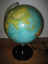 VINTAGE RAND MCNALLY PHYSICAL POLITICAL GLOBE LAMP  EUC