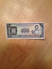 1952.  5 Guaranties Banco Central Del Paraguay  (Hard To Find Bill)