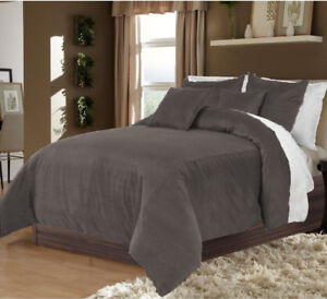 5 PC Amazing Reversible Full/Queen Size Grey & White Velvet Duvet Cover Set