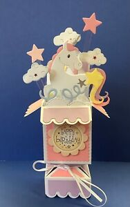 POP UP BIRTHDAY CARD OF A UNICORN…../CANDLES/CLOUDS/STARS