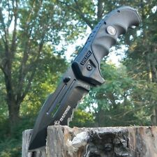 "9"" USMC MARINES BLACK Serrated MILITARY TACTICAL Folding Pocket Blade Knife"