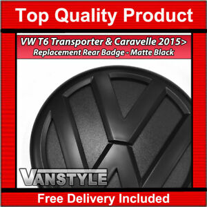 FOR VW T6 TRANSPORTER & CARAVELLE 2015> REPLACEMENT REAR STYLE MATTE BLACK BADGE
