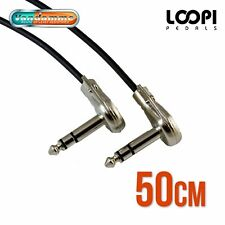 "50cm 1/4"" Stereo Pancake Right Angle Effect Patch TRS Lead - Van Damme Cable"