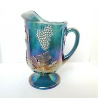 Indiana Carnival Glass Iridescent Blue Large Pitcher Harvest Grape Vintage