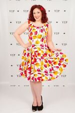 Volup vintage red pink & yellow tulip flower full circle dress rockabilly pin-up