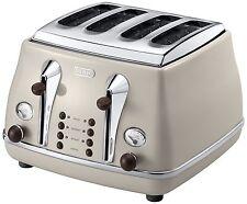 De'Longhi CTOV4003.BG Vintage Icona Dolcevita 4 Slice Toaster - Cream NEW