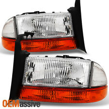 97-04 Dakota 98-03 Durango Headlights + Amber Turn Signal Corner Lights Pair Set