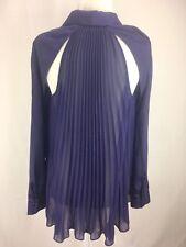 Guess Los Angeles Womens Dress Shirt Purple Button Down Pleated Open Back Sz Xs