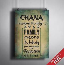 A3 Ohana signifie famille * Lilo et Stitch typographique Citation Art * excellente idée de cadeau