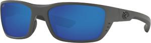 New Costa Del Mar Whitetip Sunglasses Matte Gray Blue Mirror Polarized 580P