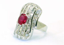 3.83 Carats Ruby Diamond Ring in 14k White Gold