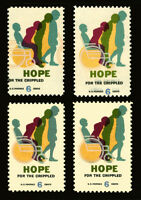 #1385 6c 1969 EFO Hope for Crippled Issue Double Impression, Color Shift Errors