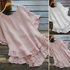 ZANZEA Women Blouse Shirt Casual Loose Basic Short Sleeve Asymmetric Ruffle Plus