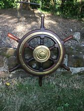 "Antique / Vintage 6 Spoke Mahogany & Brass Ship's Wheel 24"" Excellent Condition"