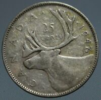 1947 Canada ML quarter - this 80% silver 25 cent coin has Maple Leaf by date
