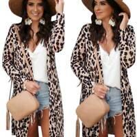 Women Leopard Coat Long Sleeve Cardigan Casual Tops Blouse Jacket Outwear Kimono