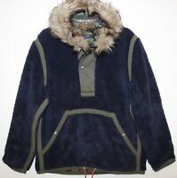 Polo Ralph Lauren Mens Navy Blue Fleece Faux Fur Hood Jacket NWT $299 Size M