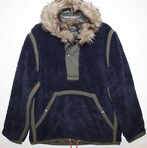 Polo Ralph Lauren Mens Navy Blue Fleece Faux Fur Hood Jacket NWT $299 Size L
