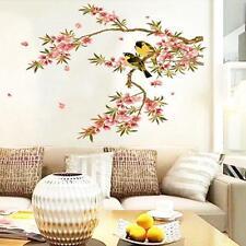 Birds Peach Blossom Branch Removable Vinyl Decal Wall Sticker Art Mural Decor