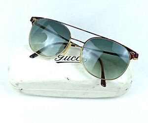 NOS GUCCI SUNGLASSES VINTAGE 70S GREEN LENS ITALY MADE GG 1222 64N RARE MODEL