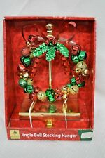 Christmas Stocking Hanger Jingle Bell Red Silver Glitter Metal Holly Green Gold