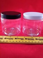 250ml Round empty plastic storage canister/container/jar/tub/pot 5,10,20,30,40's