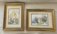Baby Rabbits Watercolor Signed Original Painting on Paper Framed Matted Pair
