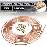 "Steel Copper Brake Line Tubing Kit 3/16"" of 25Ft Coil Roll with 20 Fittings Nuts"