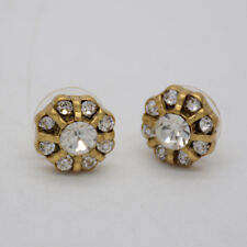 J.crew signed jewelry matte gold plated post stud earrings crystals for women