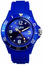 VYBZ Blue Silicone Band Wristwatch Unidirectional Bezel Glow in the Dark Markers