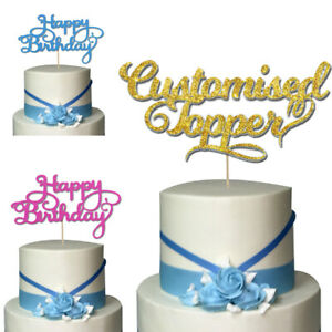 Glitter Cake Topper Personalised Wedding Cupcake Sign Party Sign Text Message UK