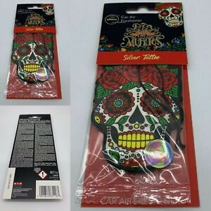 Silver Tattoo Day of The Dead Skull Aroma Car Air Freshener New & Sealed