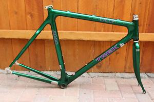 Vintage Trek 5000 Carbon Road Bike Frameset 58cm Green OCLV Fiber Bontrager