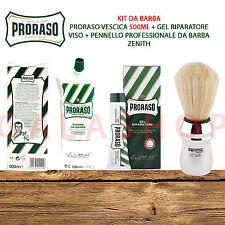 KIT DA BARBA PRORASO SAPONE VESCICA + GEL RIPARATORE RASATURA + PENNELLO ZENITH