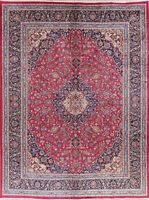 Wool Hand-Knotted Traditional Floral Area Rug 10x13 Oriental Vintage Carpet